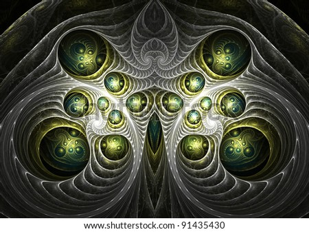 Beautiful abstract fractal in blue and green - stock photo
