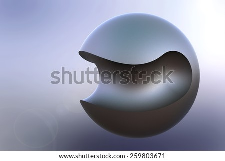 Beautiful abstract illustration of curved-cut metal ball - stock photo