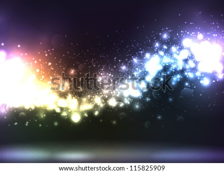 Beautiful abstract illustration with lots of sparkling and defocused lights - stock photo