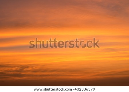 beautiful abstract orange clouds and sky at sunset - stock photo
