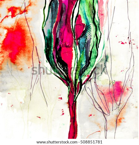 Beautiful abstract watercolor painting illustration poster