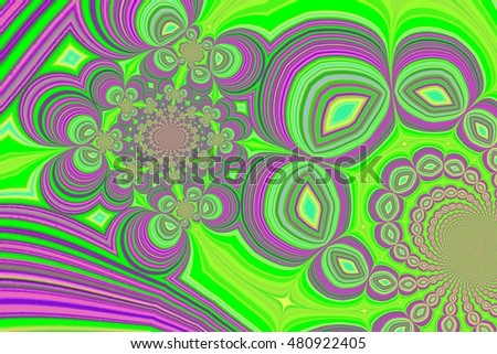 beautiful abstraction in color with fractals and various figures, text, design, textiles, children's fairy tales, book cover, for printing on fabric or paper