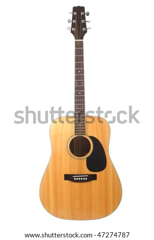 Beautiful Acoustic guitar isolated on white background - stock photo