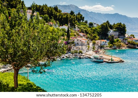 Beautiful Adriatic Bay and the Village near Split, Croatia - stock photo