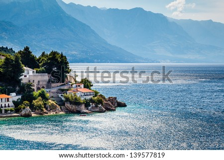 Beautiful Adriatic Beach and Lagoon with Blue Water near Split, Croatia - stock photo