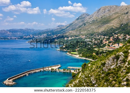 Beautiful Adriatic lagoon with turquoise water, Croatia. - stock photo
