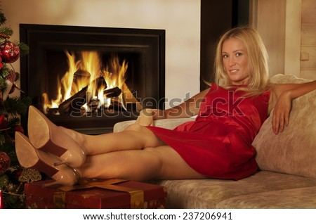 Young Girl Tea Home Front Fireplace Stock Photo 332329901 ...