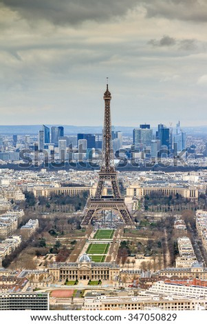 Beautiful aerial cityscape of Paris, France, with the Eiffel tower seen from the Tour Montparnasse
