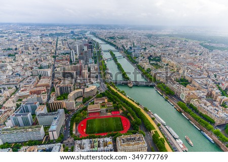 Beautiful aerial landscape view from the Eiffel Tower of Seine river across Paris, France