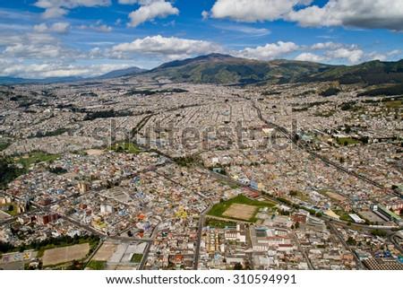 Beautiful aerial photo of Quito, Ecuador - stock photo