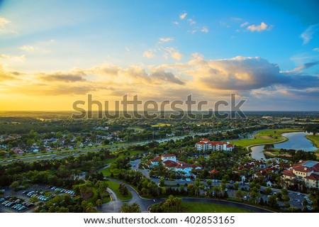 Beautiful aerial sunset view of the Orlando city in Florida - stock photo