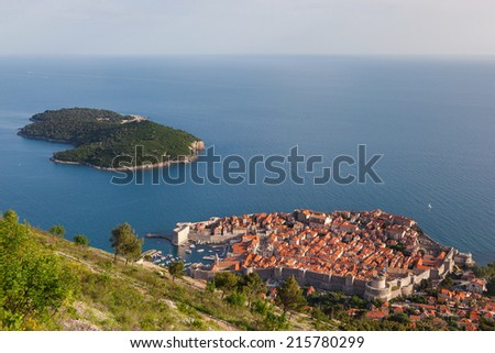 Beautiful aerial view of Dubrovnik's old town and Lokrum island. - stock photo