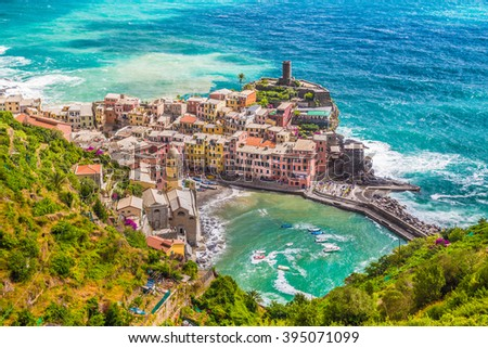 Beautiful aerial view of historic town of Vernazza, one of the five famous scenic fisherman villages of Cinque Terre, in summer, Liguria, Italy - stock photo
