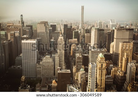 Beautiful aerial view of Manhattan skyline at sunset in summer, New York City, USA - stock photo