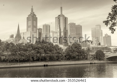 Beautiful aerial view of Melbourne skyline, Australia. - stock photo