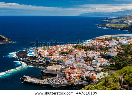 beautiful aerial view of the Garachico town, Tenerife, Canary Islands, Spain