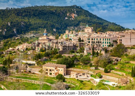 beautiful aerial view of the mountain village Valldemossa in spring, Mallorca, Spain - stock photo