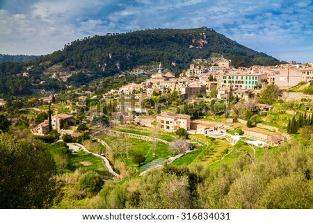 beautiful aerial view of the small village Valldemossa in the west corner of Majorca, Spain - stock photo