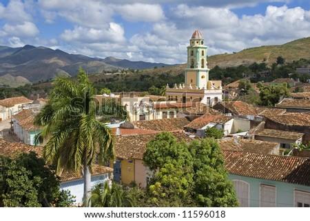 beautiful aerial view of Trinidad - Cuba - stock photo