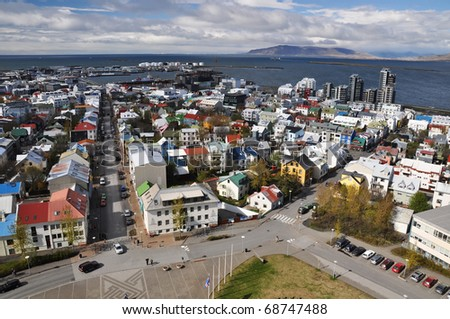 Beautiful aerial view to Reykjavik downtown from church, capital of Iceland - stock photo