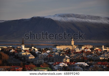 Beautiful aerial view to Reykjavik downtown, Iceland - stock photo