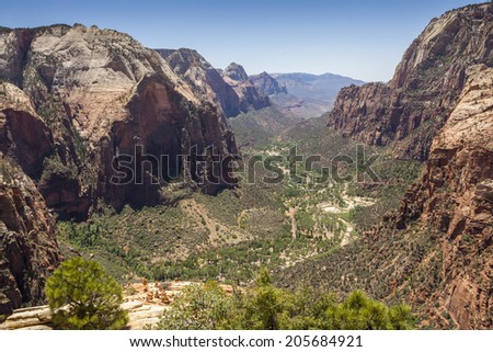 Beautiful aerial views from Zion National Park.  - stock photo