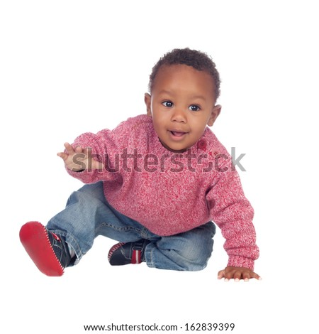 Stock photo adorable year old black or african american boy with a big