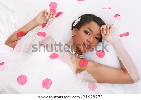 Beautiful African American Bride Portrait on White Background - stock photo
