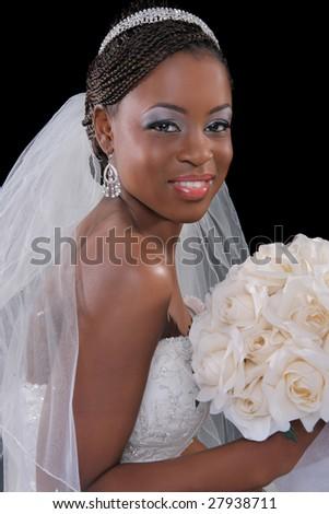 Beautiful African American Bride Portrait Sitting on Dark Background - stock photo