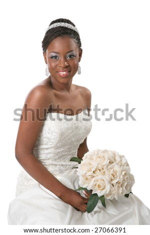 Beautiful African American Bride Portrait Sitting on White Background - stock photo