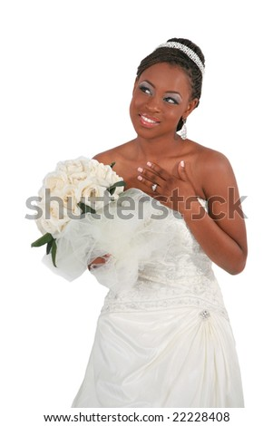 Beautiful African American Bride Portrait Standing on Isolated White Background - stock photo