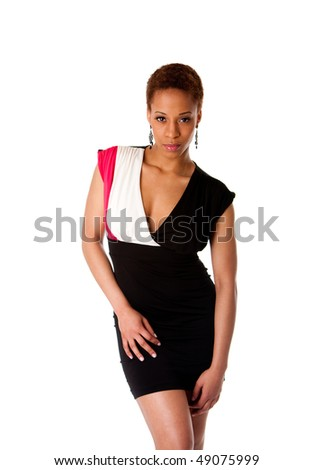 Beautiful African American business woman wearing black fashion dress, isolated. - stock photo