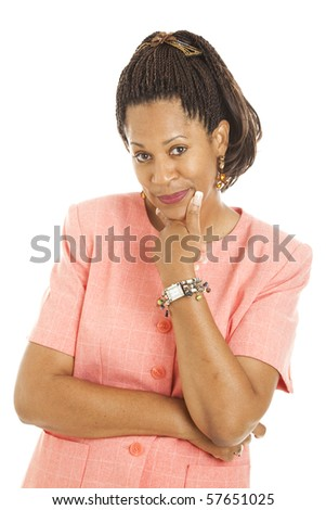 Beautiful african-american businesswoman expressing sketicism.  Isolated on white