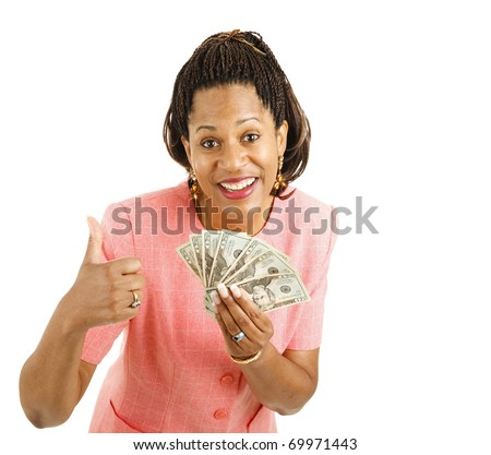Beautiful African-american businesswoman holding a hand full of cash and giving a thumbsup sign.  Isolated on white - stock photo