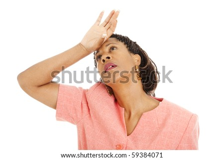 Beautiful African-American businesswoman in despair.  Isolated on white.