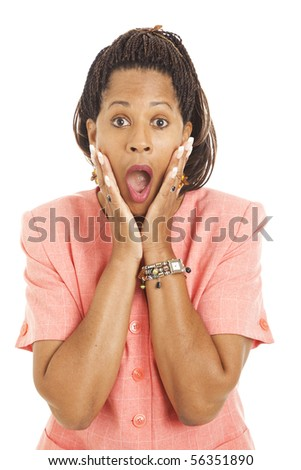 Beautiful African-American businesswoman is shocked.  Isolated on white. - stock photo