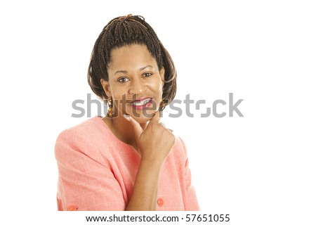 Beautiful african-american businesswoman isolated on white background.