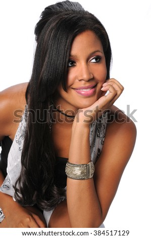 Beautiful African American businesswoman isolated over white background