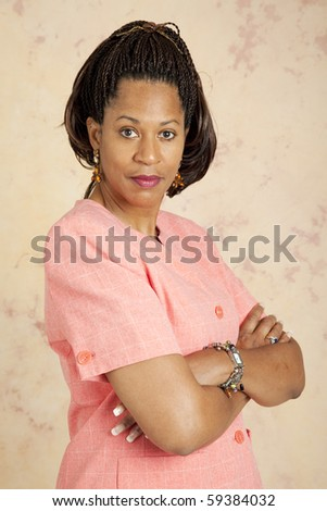 Beautiful african-american businesswoman with serious attitude. - stock photo