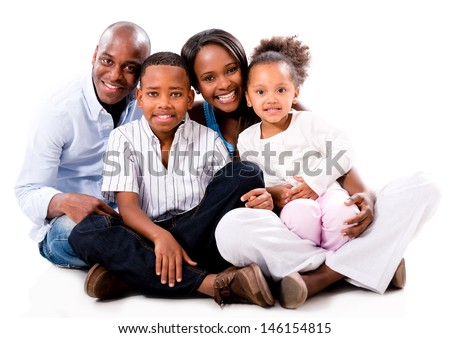 Beautiful African American family looking happy - isolated over white