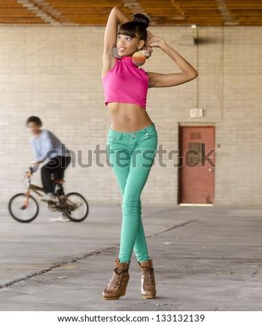 Beautiful African American fashion model - stock photo