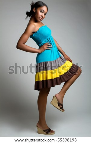Beautiful african american fashion woman - stock photo