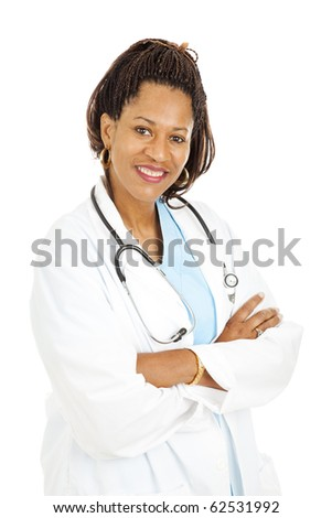 Beautiful African-american female doctor isolated on a white background.
