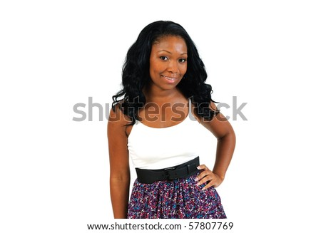 Beautiful African American female model in bright dress - stock photo