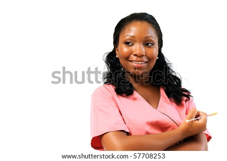 Beautiful African American healthcare professional in pink scrubs - smiling - needle copy space left - stock photo