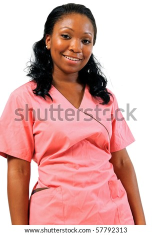 Beautiful African American healthcare professional in pink scrubs - smiling portrait - stock photo