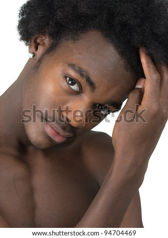 beautiful African American man black and white with long hair black isolated - stock photo