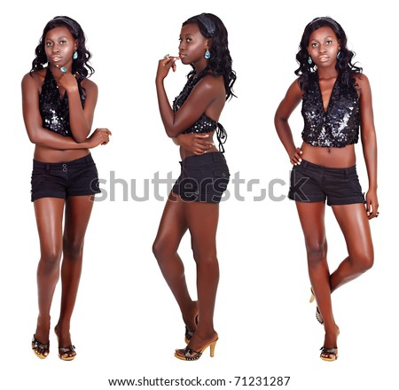 beautiful African American model with fit slim body wearing shorts and sequin party top on white background in three different poses - stock photo
