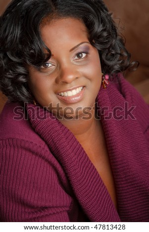 Beautiful African American Plus Size Female Fashion Model in Sweater Headshot - stock photo