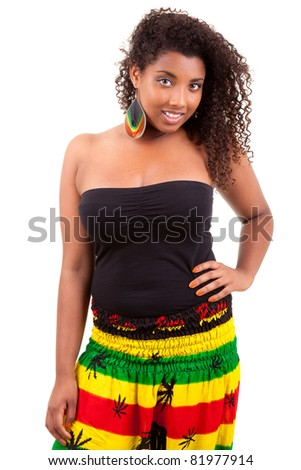 Beautiful african american teenage girl isolated on white background - stock photo